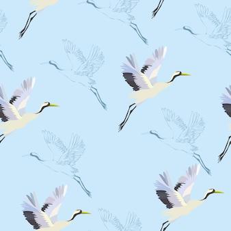 Padrão de pássaros de guindaste