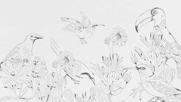 Padrão de pássaros e flores desenhados à mão no fundo branco