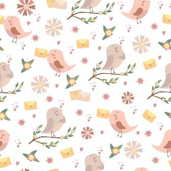 Padrão de pássaros românticos