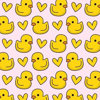 Padrão de pato de borracha com coração