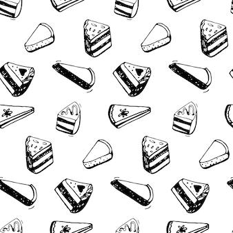 Padrão de pedaço de bolo. desenho de esboço de tinta preta de sobremesas. plano de fundo transparente.