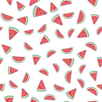 Padrão de pedaços doces e suculentos de melancia