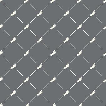 Padrão de pegada sem costura em um fundo escuro. design criativo do ícone de pegada. pode ser usado para papel de parede, fundo de página da web, têxtil, impressão ui / ux