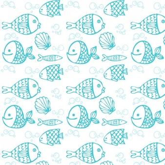 Padrão de peixe desenhado mão azul