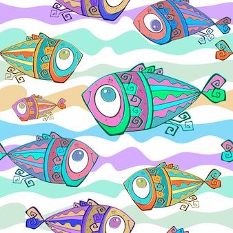 Padrão de peixes tropicais decorativos