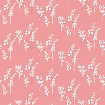 Padrão de pequenas plantas rosa