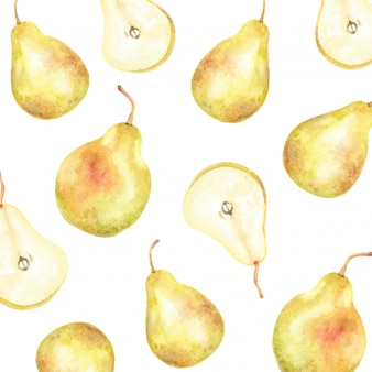 Padrão de pêra frutas cortadas ao meio com aquarela de sementes