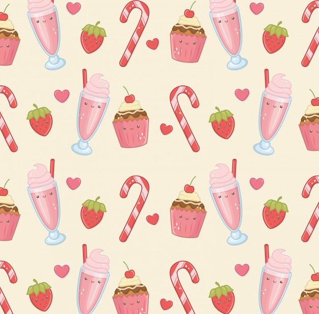 Padrão de personagens kawaii de produtos deliciosos e doces