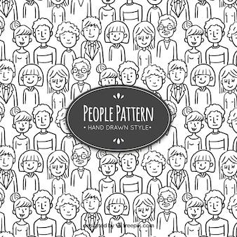 Padrão de pessoas com estilo desenhado de mão