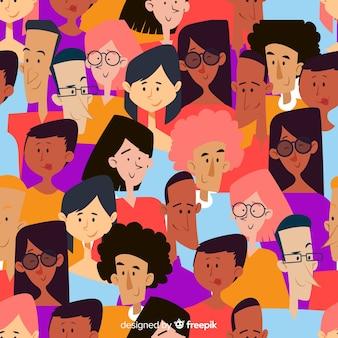 Padrão de pessoas da juventude colorido mão desenhada