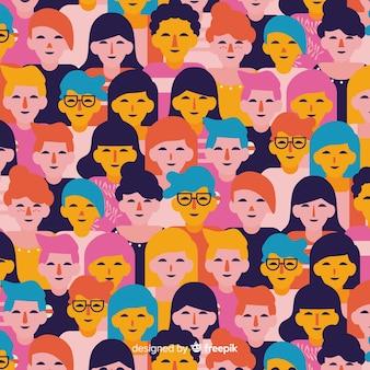 Padrão de pessoas de juventude plana colorida