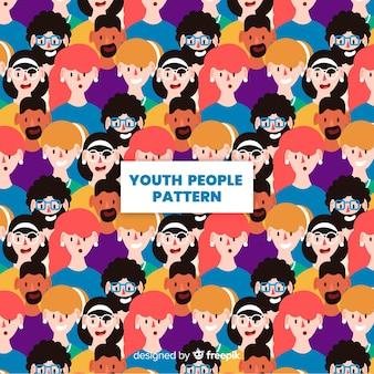 Padrão de pessoas jovens design plano