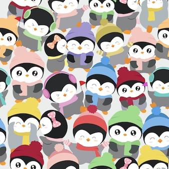 Padrão de pinguim bonito dos desenhos animados