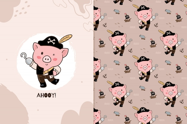 Padrão de pirata de porco