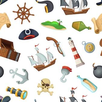 Padrão de piratas do mar dos desenhos animados ou plano de fundo