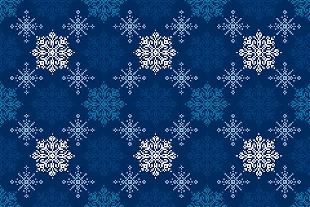 Padrão de pixel de férias de inverno com ornamento de flocos de neve sem costura