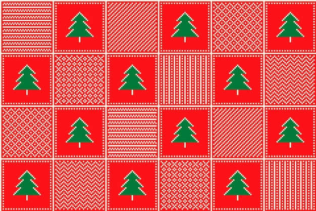 Padrão de pixel de natal com árvores de natal e enfeites xadrez