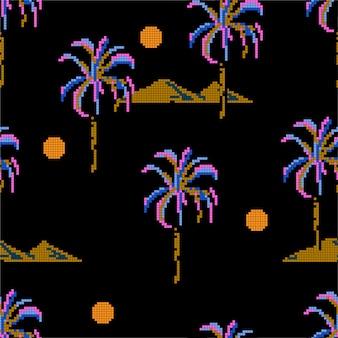 Padrão de pixel de palmeiras e ilhas