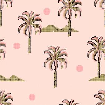 Padrão de pixel de palmeiras e sóis