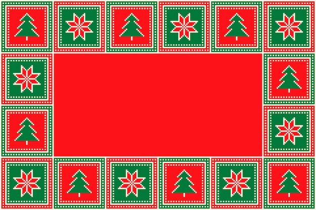 Padrão de pixel sem costura de feriado de natal com árvores de natal e enfeites quadrados de flocos de neve