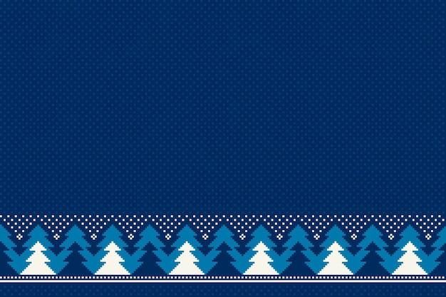 Padrão de pixel sem costura de férias de inverno com enfeite de árvores de natal