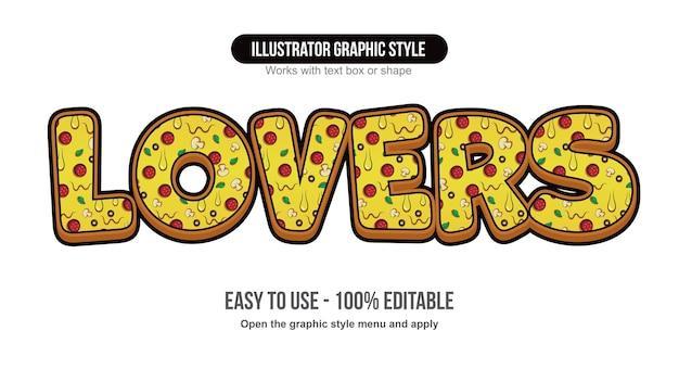 Padrão de pizza desenho animado efeito de texto editável arredondado em 3d