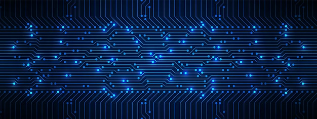 Padrão de placa de circuito azul de fundo abstrato de tecnologia com linha de luz elétrica de microchippower