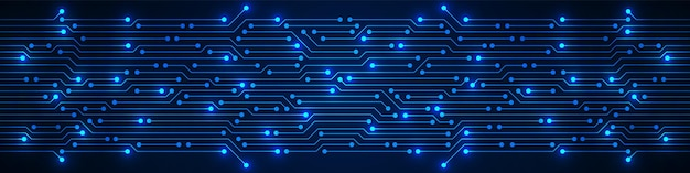 Padrão de placa de circuito azul de fundo abstrato de tecnologia com microchip de luz de eletricidade