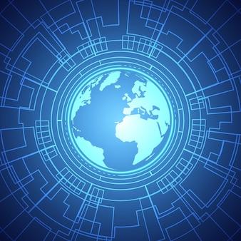 Padrão de placa de circuito de círculo azul de tecnologia de lente inteligente de fundo global digital abstrato