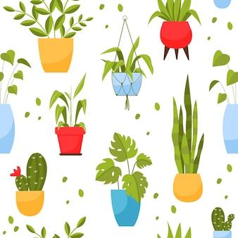 Padrão de plantas caseiras em estilo cartoon de vasos