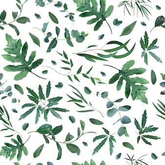 Padrão de plantas realistas. folhas sem costura eucalipto, padrão de planta de samambaia, fundo de textura de folhagem de hortaliças. cenário ecológico, ilustração de plantas naturais tropicais