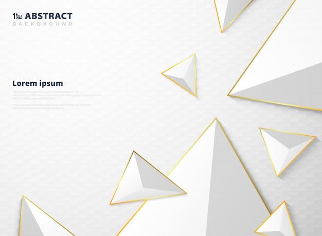 Padrão de polígono triângulo abstrato gradiente branco