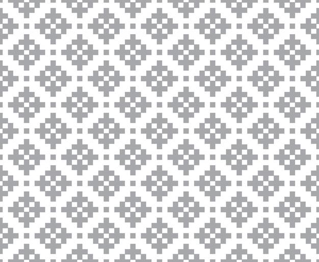 Padrão de ponto cruz abstrato cinza sem emenda no fundo branco