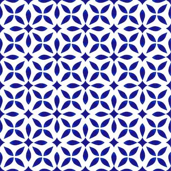 Padrão de porcelana, design de cerâmica moderna sem costura, fundo floral azul e branco