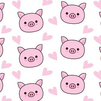 Padrão de porco fofo com coração