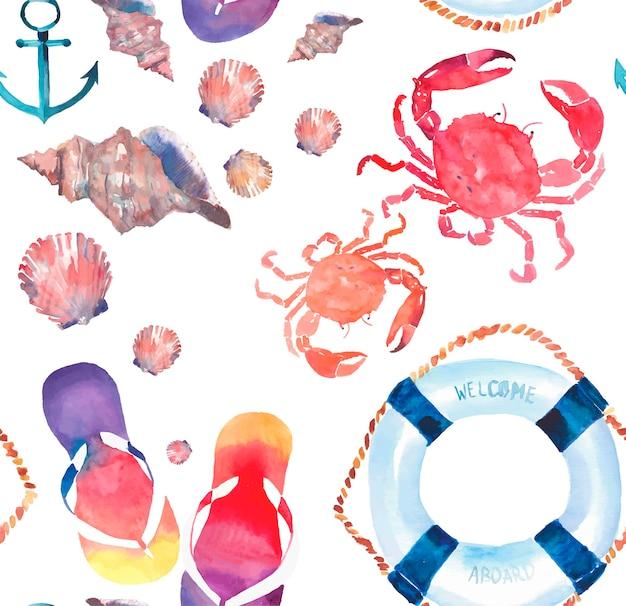 Padrão de praia de flip-flops caranguejos vermelhos conchas lifebuoy