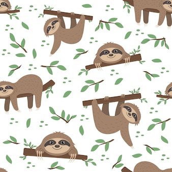 Padrão de preguiça em um fundo de folhas tropicais em um fundo branco, ilustração vetorial de cor, têxteis, impressão, papel de parede