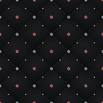 Padrão de preto escuro sem costura luxo e fundo com diamante azul, vermelho