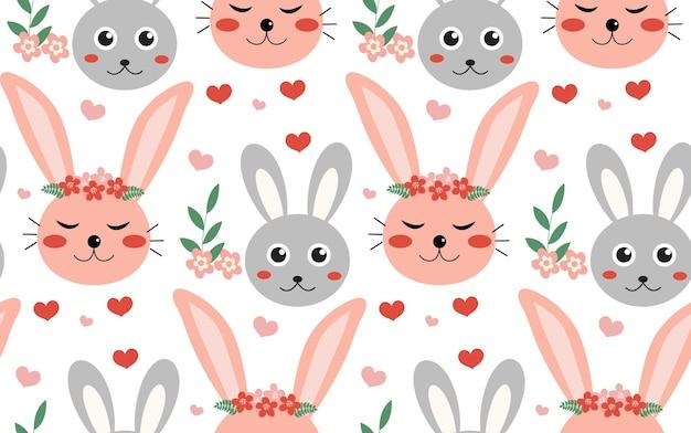 Padrão de primavera sem costura com coelhos e plantas. padrão de páscoa. coelhos dos desenhos animados.
