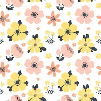Padrão de primavera sem costura com flores.