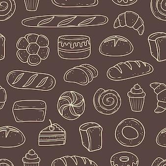 Padrão de produtos assados. ilustração em estilo doodle