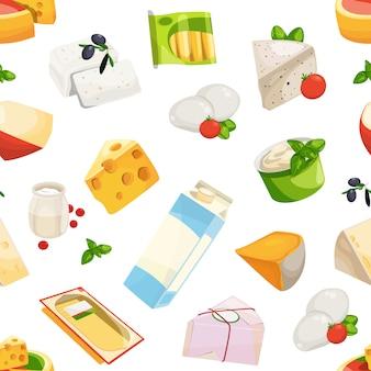 Padrão de produtos lácteos e queijo dos desenhos animados ou ilustração