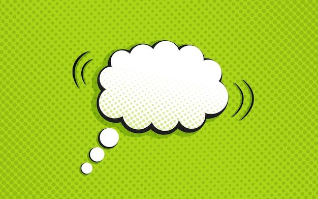Padrão de quadrinhos de pop art. fundo de meio-tom com bolha do discurso. impressão pontilhada em verde. textura de desenho animado