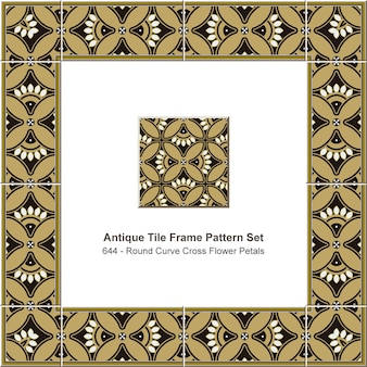 Padrão de quadro de azulejo antigo definido curva redonda cruz pétalas de flores, decoração de cerâmica.