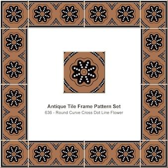 Padrão de quadro de azulejo antigo definido flor de linha de ponto cruzado curva redonda, decoração de cerâmica.