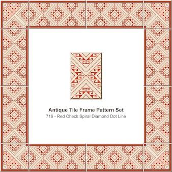 Padrão de quadro de azulejo antigo definido linha de ponto de diamante espiral vermelho cheque, decoração de cerâmica.
