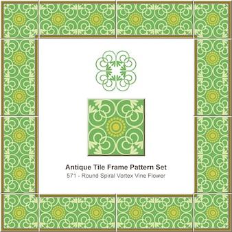 Padrão de quadro de azulejo antigo definido verde redondo curva espiral cruz flor de videira, decoração de cerâmica.