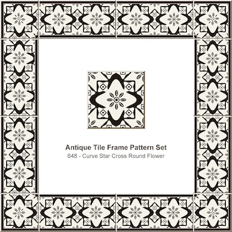 Padrão de quadro de azulejos antigos definido curva estrela cruz flor redonda, decoração de cerâmica.