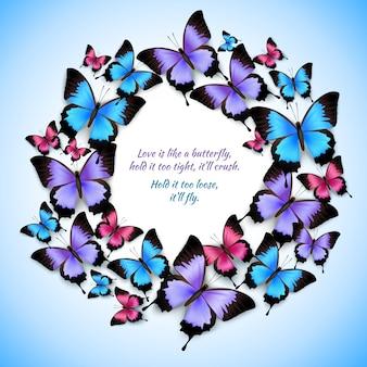 Padrão de quadro de círculo de borboletas coloridas