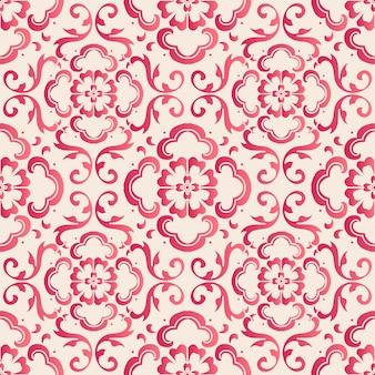 Padrão de quadro de flor de curva botânica de estilo chinês sem costura elegante. design de papel de parede retro tradicional.